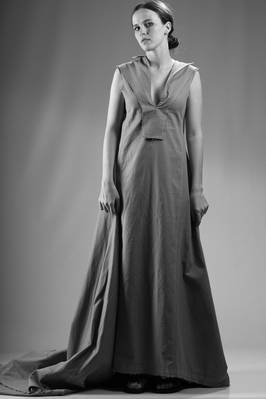 long train dress in organic cotton serge  - 73