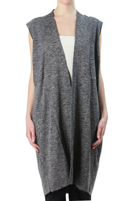 long waistcoat in makò cotton, linen and viscose knit, with iridescent and dry touch effect  - 227