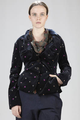 Short and fitted-at-the-waist jacket in cotton smooth velvet with floral print  - 267