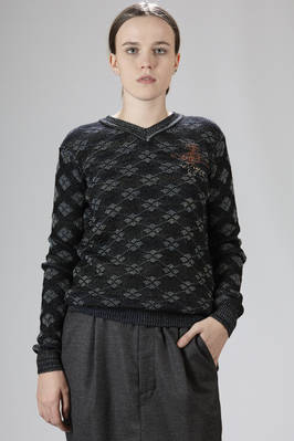 Wool, cotton and polyamide jacquard sweater with lozenges pattern  - 267