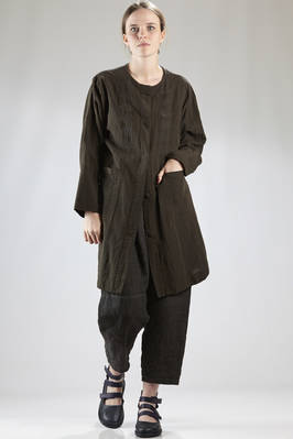 light overcoat in linen, cotton and paper canvas with small a-jour embroidery  - 202