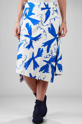 flared skirt in cotton jacquard with 'Matisse' printing  - 266
