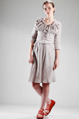 two pieces dress in linen cotton canvas with diagonal checks pattern  - 266