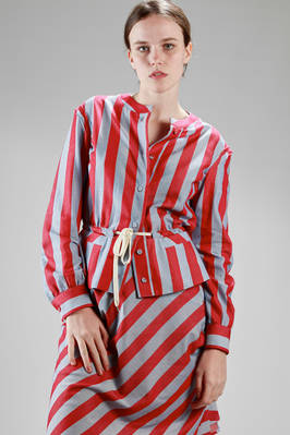 shirtlike jacket in cotton etamine with large stripes  - 266