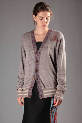 long cardigan in stocking stitched cotton and silk  - 267
