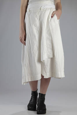 long wrapped skirt in washed cotton poplin with tone on tone stripes  - 161