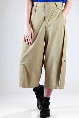 wide trousers in cotton canvas with side braid band in contrasting color  - 121