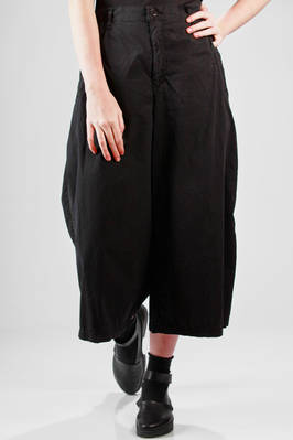 wide trousers in cotton canvas with side braid band  - 121