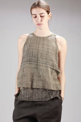 doubled top in cotton canvas with two patterns one with a narrow grid and one with a large one  - 284