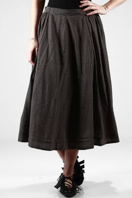 long and wide skirt in cotton jersey with narrow horizontal stripes  - 284