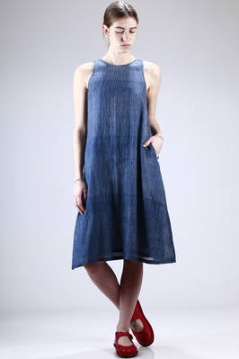 long calf-length dress in doubled and very light cotton and silk canvas with a tye-dye bicolour grid pattern  - 284