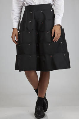 calf-length skirt in pressed wool gabardine on cotton, polyester and triacetate cloth  - 48