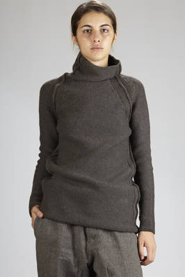 long and straight sweater in wool and melange cashmere cloth  - 161