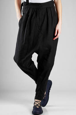 wide trousers in washed linen cloth  - 161