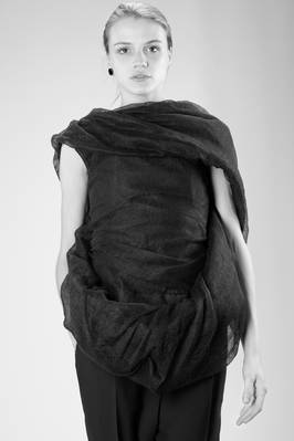 hip length 'sculpture' waistcoat with bands of lined linen 'cocoon' sewn on the front  - 120