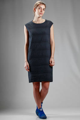 above the knee dress in cotton and polyester cloth with lunar segments texture  - 123
