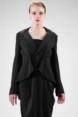 asymmetric jacket in wool gabardine, cupro linen  - 73