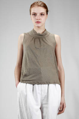 hip length singlet in flamed linen light jersey  - 334