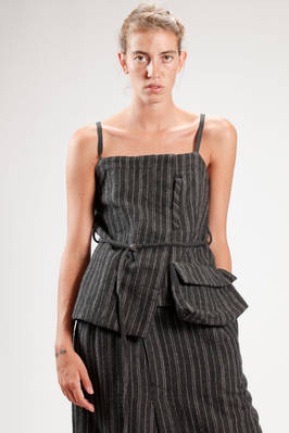 hip length waistcoat in heavy pinstripe wool and linen  - 121