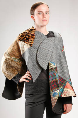 'sculpture' cape made with a patchwork of different fabrics and patterns  - 74