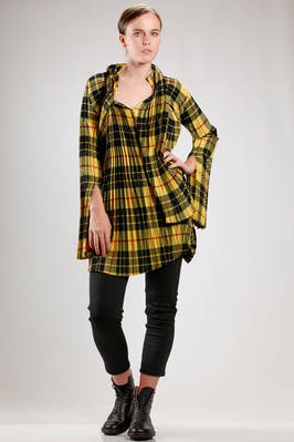 hip length tunic shaped as a double braided shirt in pleated wool and polyester tartan  - 74