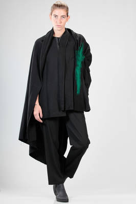 long, asymmetrical and wide 'sculpture' jacket in acrylic, nylon, polyester and woollen flannel that changes towards blue, green painted detail  - 73