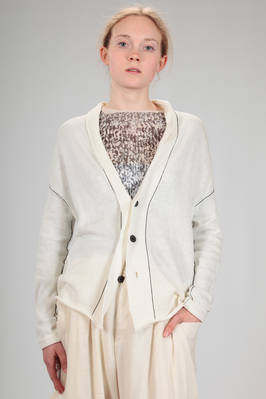 hip length cardigan in cotton, linen and silk knit with contrasting colour narrow straps  - 97