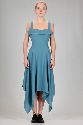 longuette dress in linen and rayon canvas  - 340