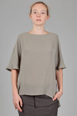 long and wide t-shirt in light rayon crêpe and speckled polyester  - 123
