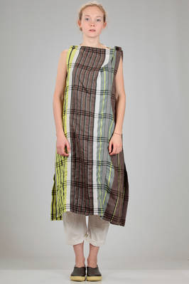 calf length dress in linen, lyocell, cotton and polyester madras  - 47