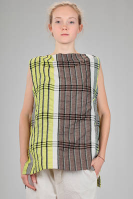 hip length top in linen, lyocell, cotton and polyester madras  - 47