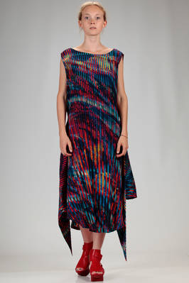 calf length dress in vertical canes polyester plissé with multicolour 'lava and ice' pattern  - 47