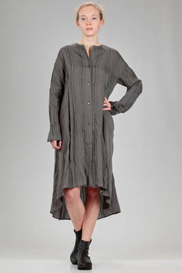 knee length robe-manteau in really light canvas of viscose, silk and polyester with ribs  - 161