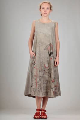 longuette dress in light washed cotton canvas with a shaded base and print of stylized Miaoran team  - 346