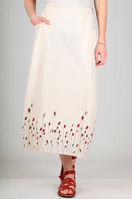 longuette skirt in wrinkled biological cotton canvas with poppies serigraphy  - 346