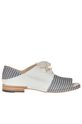 shoes with laces in solid colour cowhide leather and striped cotton canvas  - 350