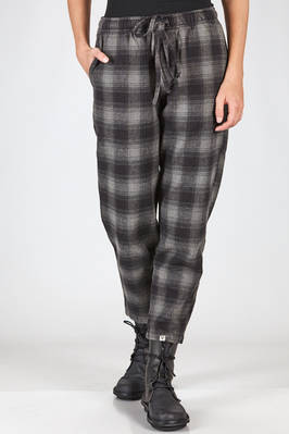 straight trousers cotton moleskin with check pattern  - 351