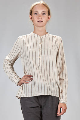 hip length shirt in washed cotton gauze with vertical line  - 351