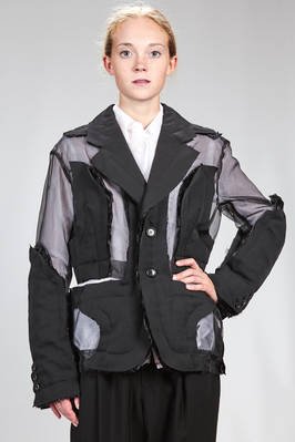 man jacket with the base in polyester organdy and double patches sewed on with armor effect in wool gabardine  - 48
