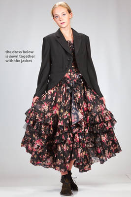 'sculpture' robe-manteaux with tail coat in wool gabardine and cashmere sewed on a wide dress with flounces in polyester georgette and floral print  - 48