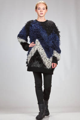 oversized sweater in wool, rayon, nylon and polyester with different kinds of knitting and with fur effect because of the long hair - JUNYA WATANABE