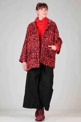 above the knee pea-coat, wide in heavy wool and silk cloth with stylized 'pomegranates' printing  - 195