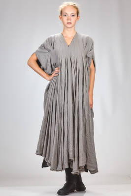 long and wide dress in boiled and embossed wool and polyamide jersey, all doubled on contrasting color lining  - 163