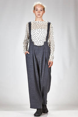 wide trousers in very soft melange modal, wool and nylon sallia, cupro lined  - 340