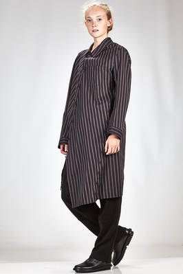 long and asymmetrical shirt in cotton poplin with diagonal stripes  - 340