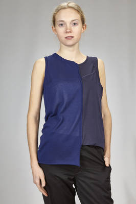 hip length asymmetrical singlet in cotton and acetate knitting and tencel and polyurethane jersey  - 97