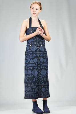 long dungaree dress in cotton denim with tone on tone greek geometric print and a polyester panel - ZUCCA