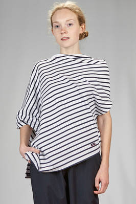 asymmetrical t-shirt in medium weight jersey with diagonal stripes  - 121