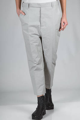 trousers in linen, cotton and polyurethane with leather effect  - 120