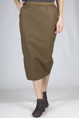 calf length pencil skirt in linen, cotton and polyurethane with leather effect  - 120